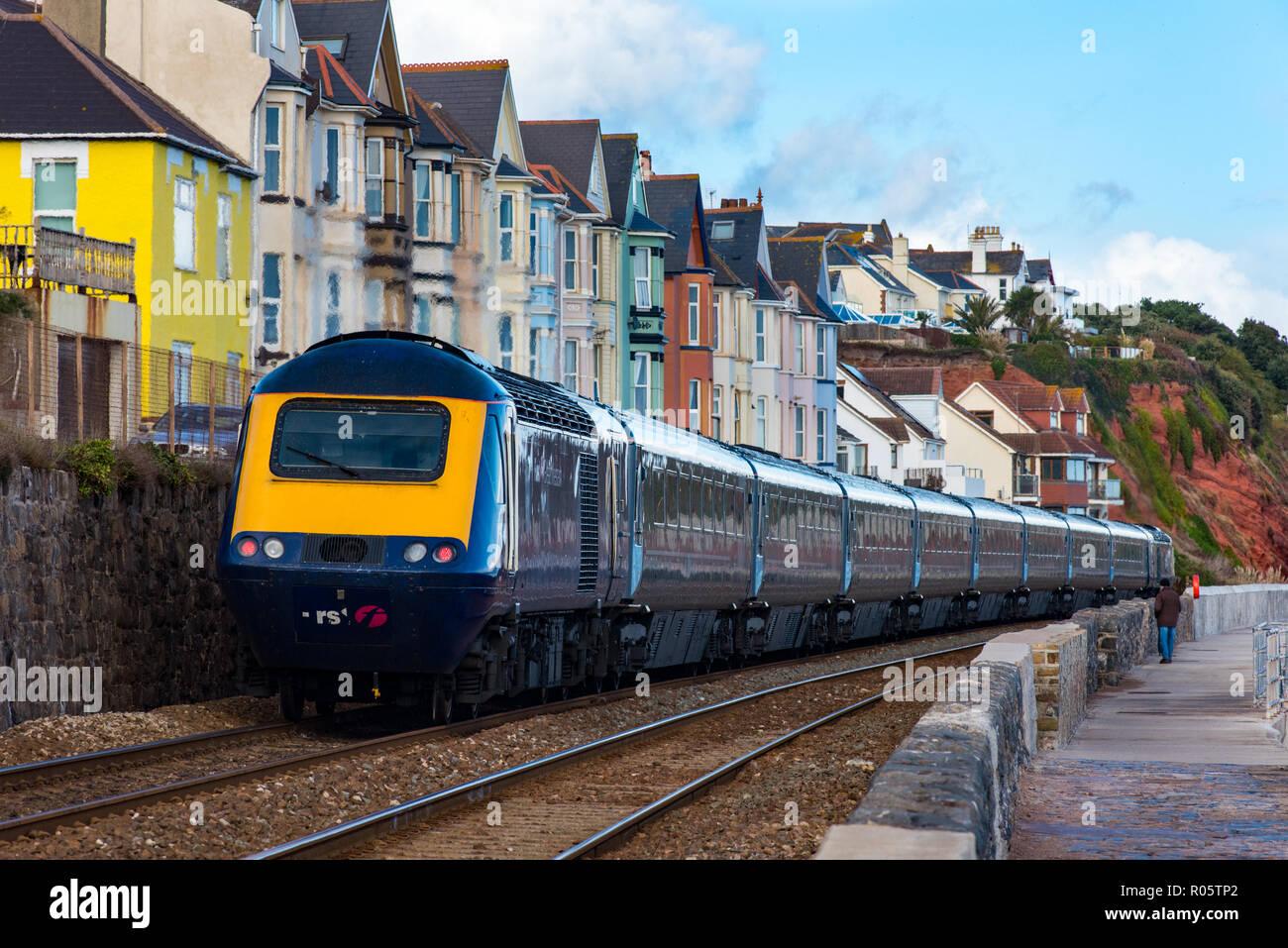 DAWLISH, DEVON, UK - 26OCT2018: GWR Class 43 Train moving north away from Dawlish Station. - Stock Image