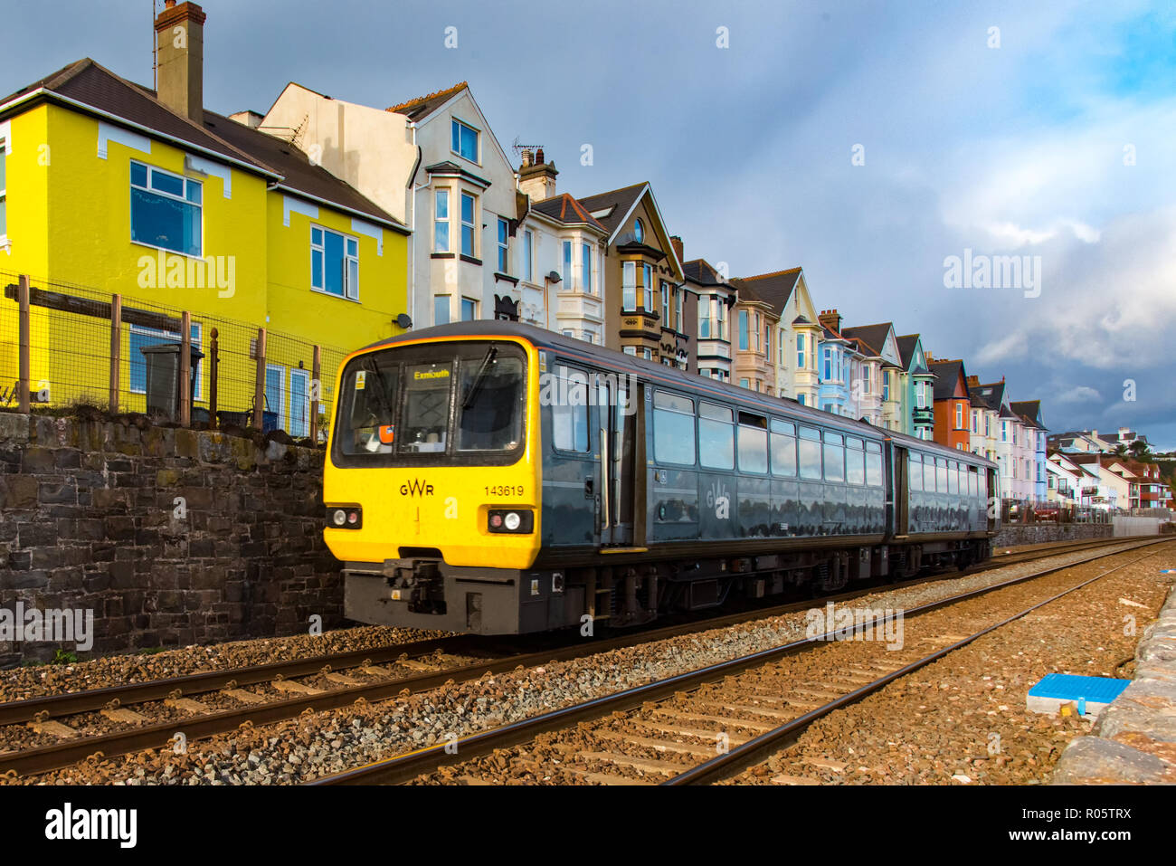 DAWLISH, DEVON, UK - 26OCT2018: GWR Class 143 Pacer trainset 143619 travelling north after leaving Dawlish Station. - Stock Image