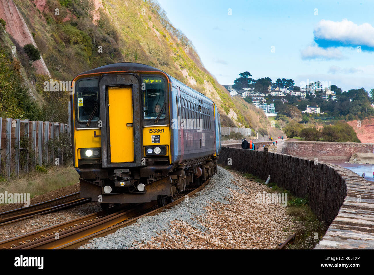 TEIGNMOUTH, DEVON, UK, 28OCT2018: GWR Class 153 Super Sprinter Trainset 153361. Approaching Teignmouth Station - Stock Image