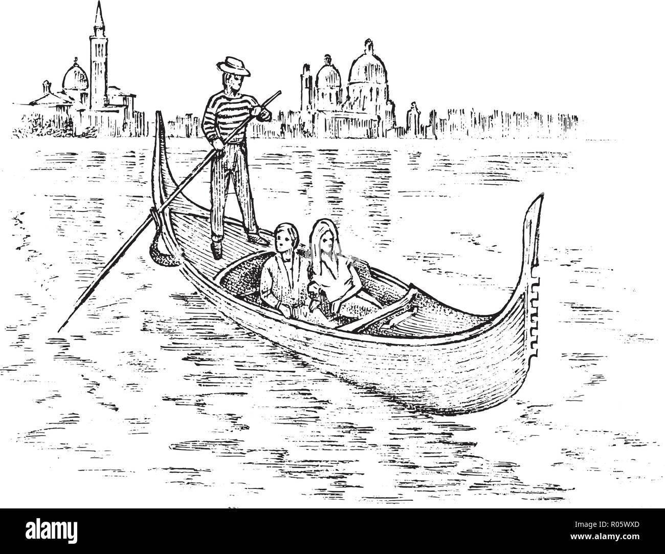 landscape in European. Characters in the gondola. Engraved hand drawn in old sketch and vintage style. Italian historical architecture with buildings, perspective view. Travel postcard. - Stock Image