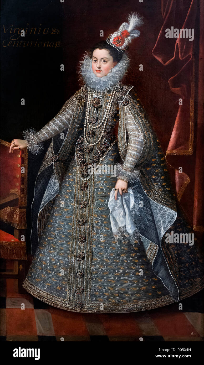 Elizabeth of France (1602-1644), consort of King Philip IV of Spain, as a young girl. Portrait by Bartolome Gonzalez, oil on canvas, c.1615-16 - Stock Image