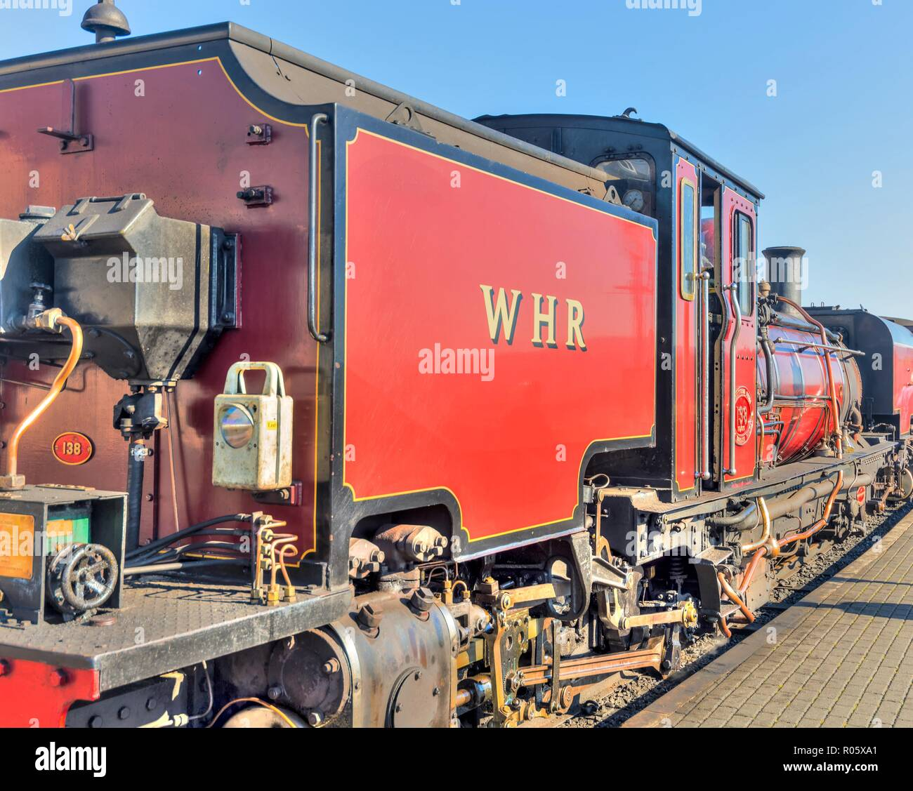 A nostalgic image of an old steam locomotive of the Ffestiniog and Welsh Highland Railway. - Stock Image