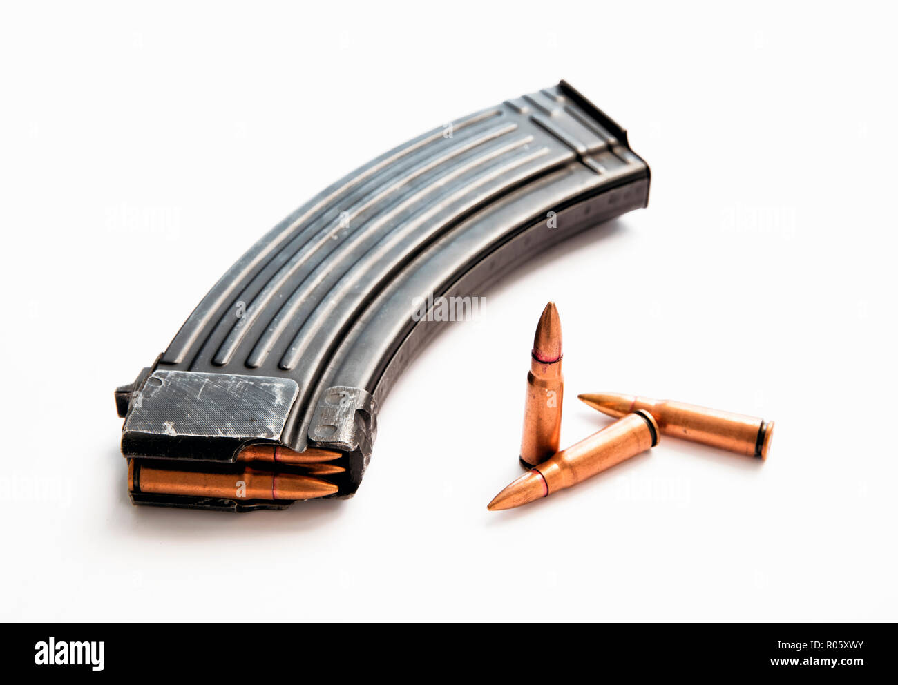 High capacity assault rifle magazine with live ammunition - Stock Image