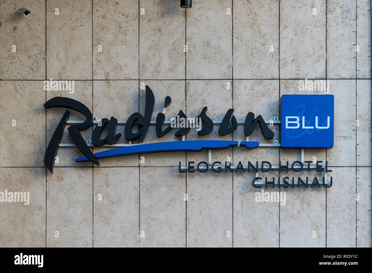 CHISINAU, MOLDOVA - 31 DECEMBER, 2017: The logo of Radisson Blu Hotel in Chisinau, Republic of Moldova. - Stock Image