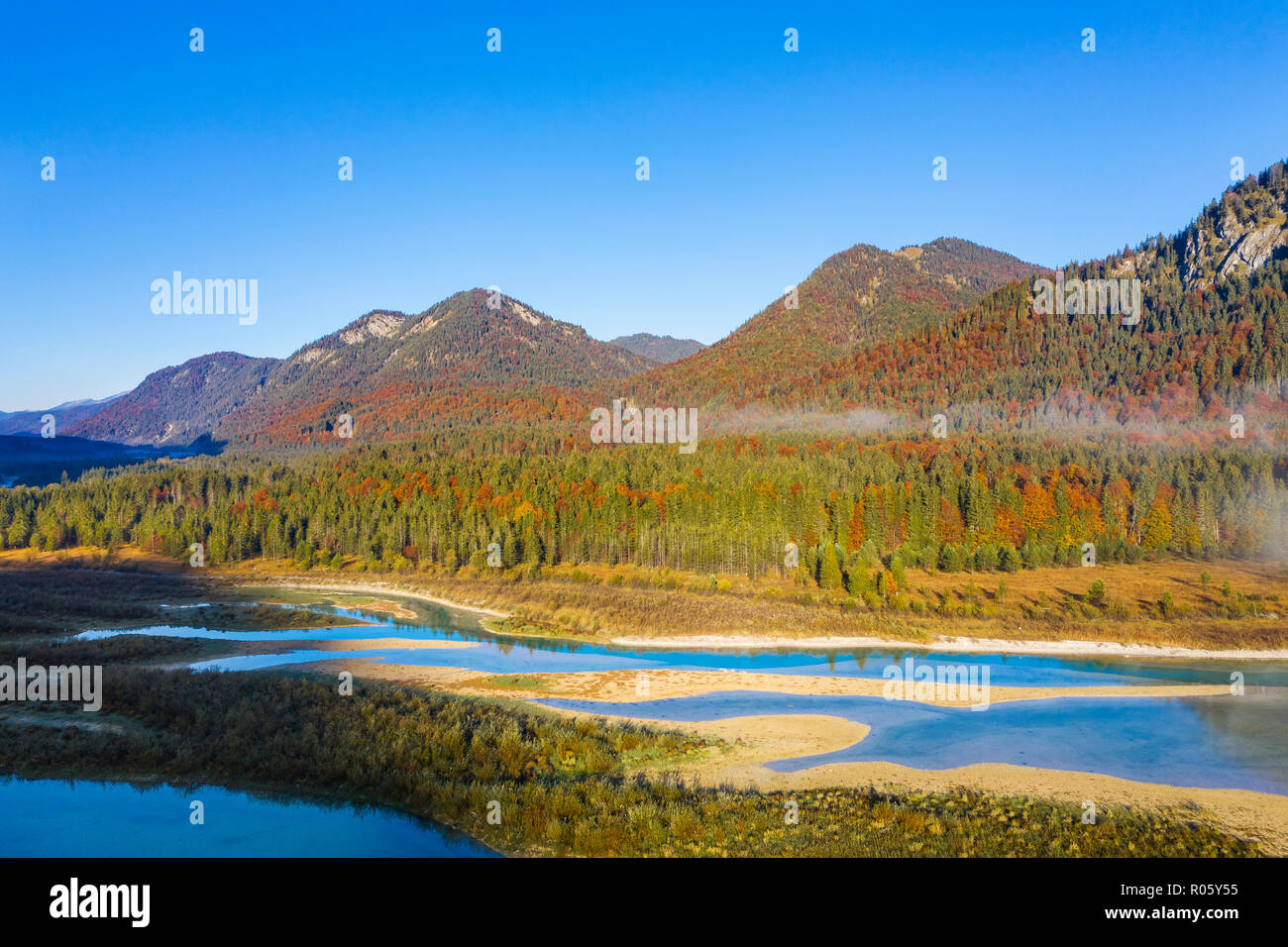 Inflow of the Isar into the Sylvenstein lake, Sylvenstein reservoir, drone image, Lenggries, Isarwinkel, Upper Bavaria, Bavaria Stock Photo