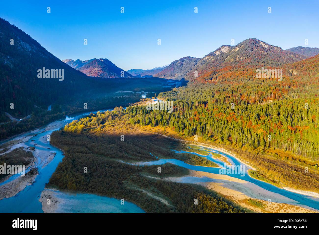 Isar, at the Sylvenstein lake, drone image, Lenggries, Isarwinkel, Upper Bavaria, Bavaria, Germany - Stock Image