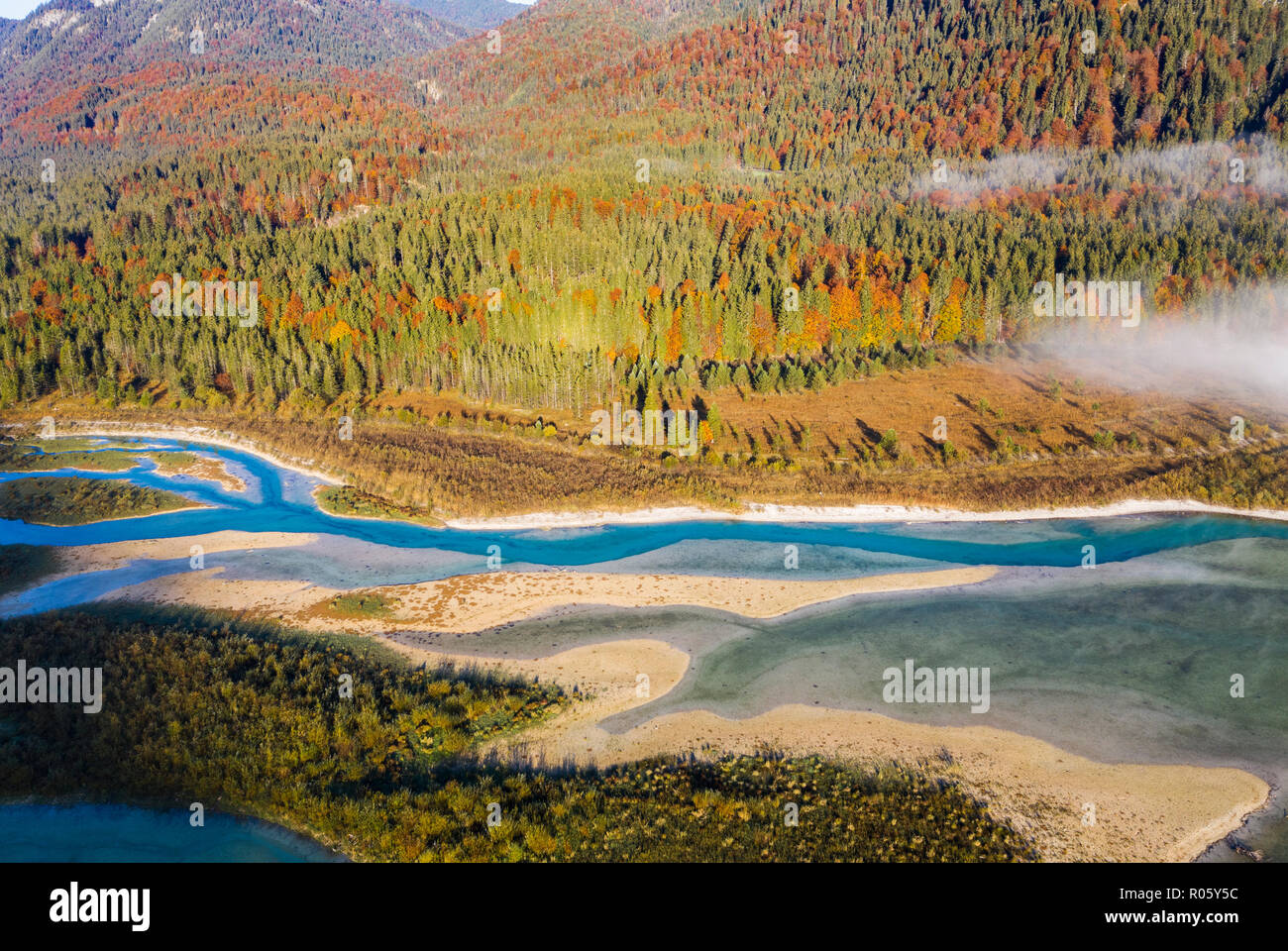 Isar, at the inflow into the Sylvenstein lake, drone image, Lenggries, Isarwinkel, Upper Bavaria, Bavaria, Germany - Stock Image