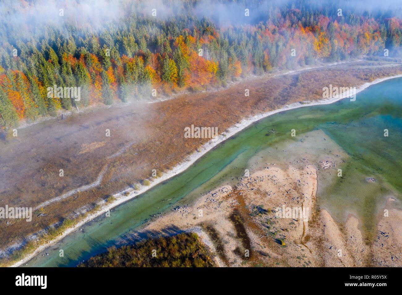 Isar, at the inflow into the Sylvenstein lake, Sylvenstein reservoir, drone image, Lenggries, Isarwinkel, Upper Bavaria, Bavaria - Stock Image