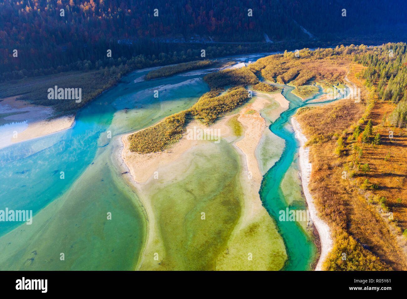 Isar, at the inflow into the Sylvenstein lake, Sylvenstein reservoir, drone image, Lenggries, Isarwinkel, Upper Bavaria, Bavaria Stock Photo