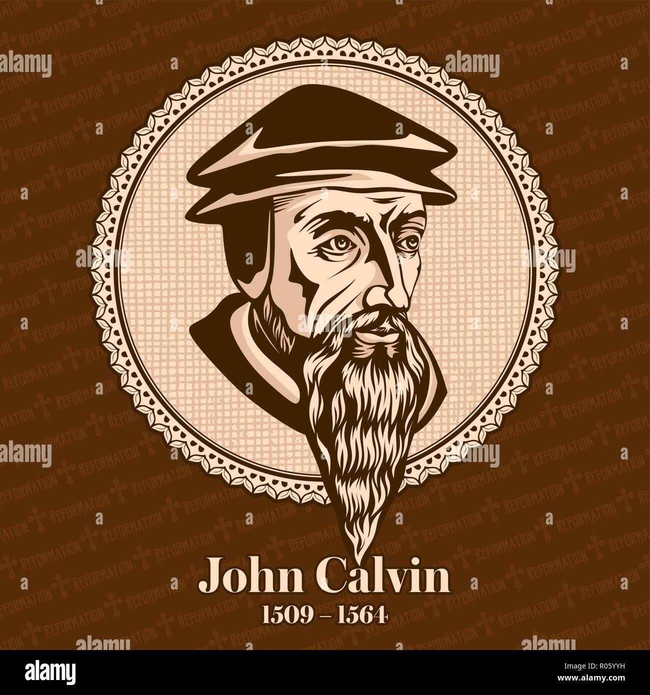 John Calvin (1509 – 1564) was a French theologian, pastor and reformer in Geneva during the Protestant Reformation. Christian figure. - Stock Image