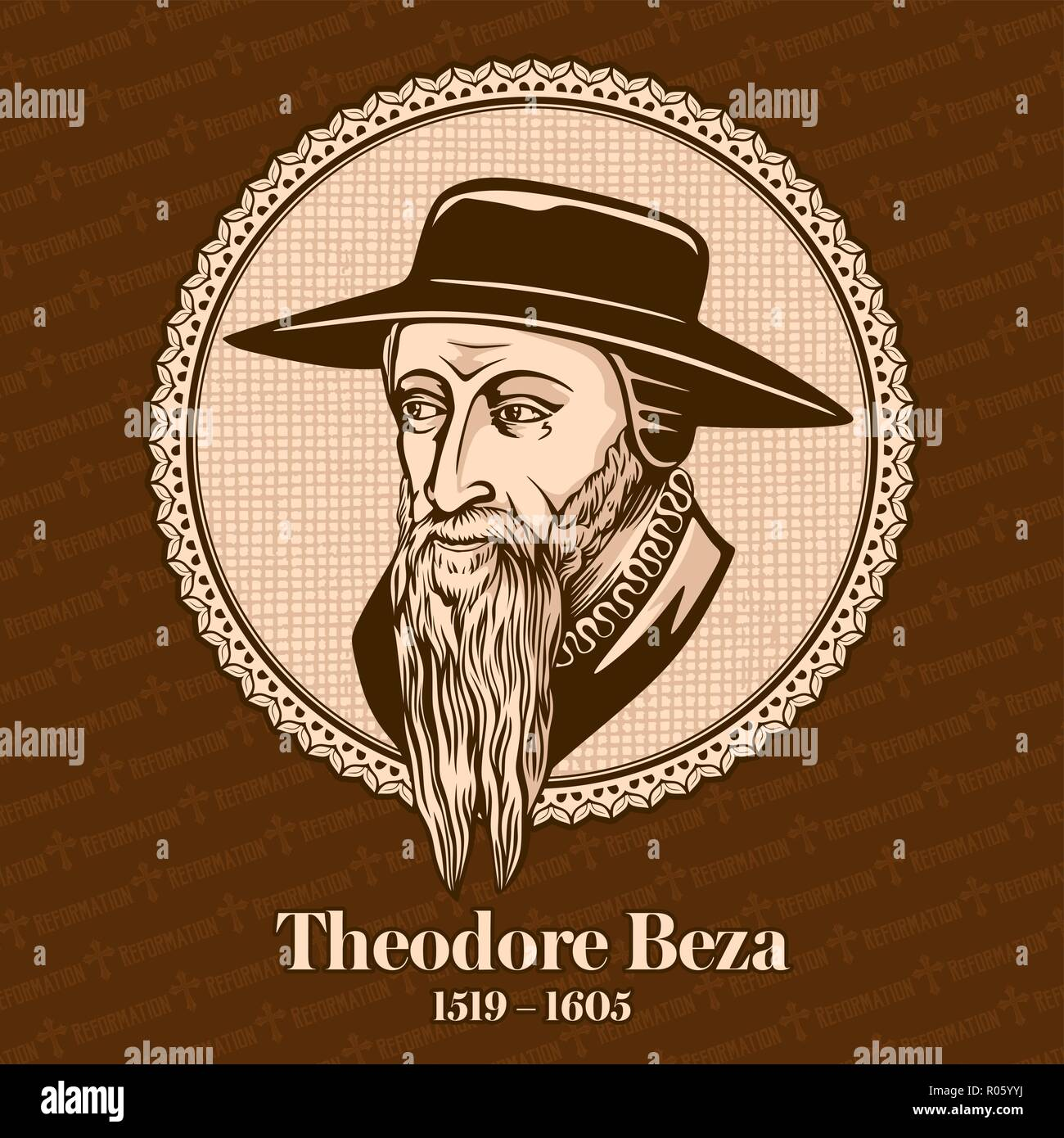 Theodore Beza (1519 – 1605) was a French Reformed Protestant theologian, reformer and scholar who played an important role in the Reformation. - Stock Image