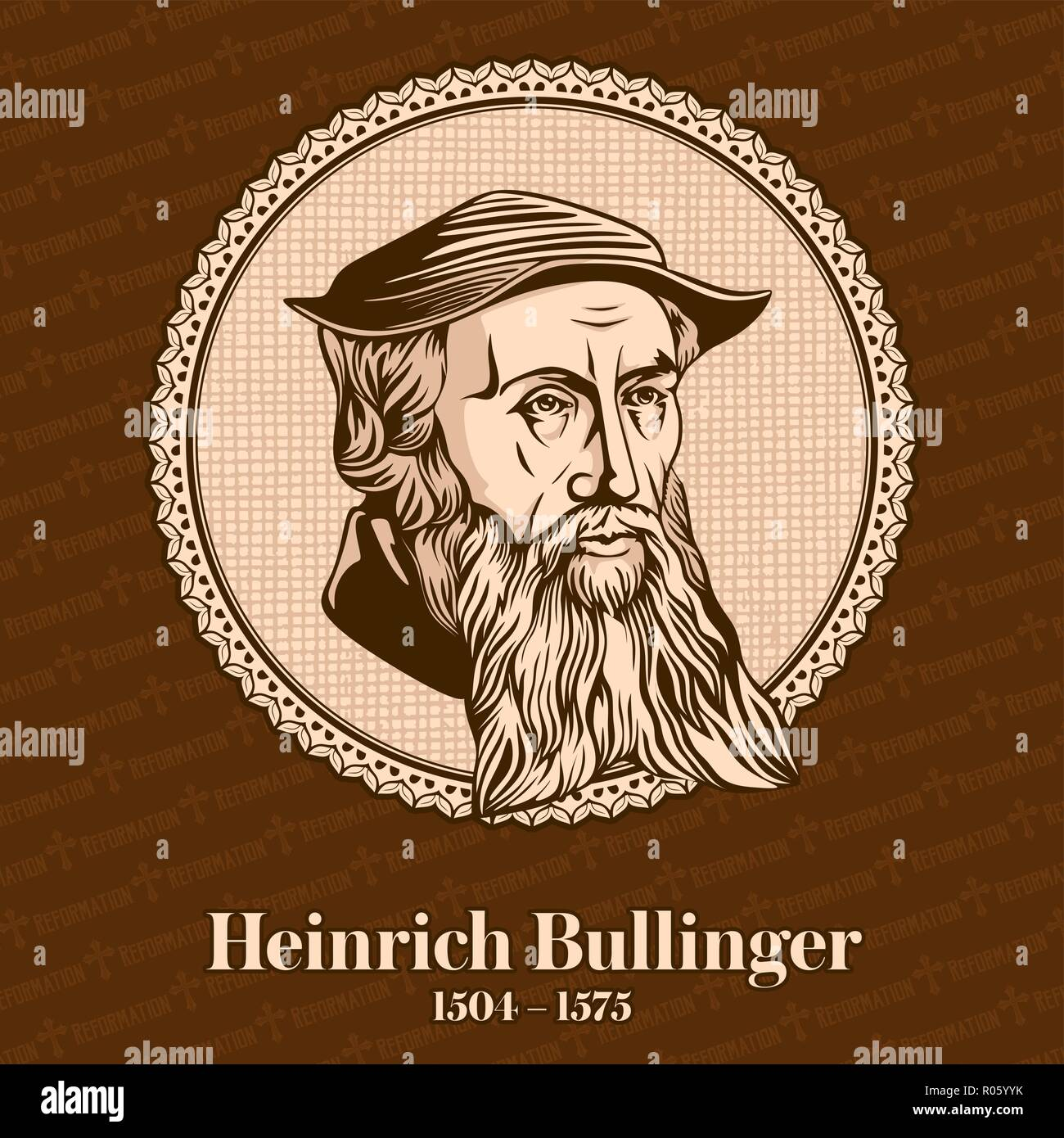 Heinrich Bullinger (1504 – 1575) was a Swiss reformer. He was one of the most influential theologians of the Protestant Reformation - Stock Image