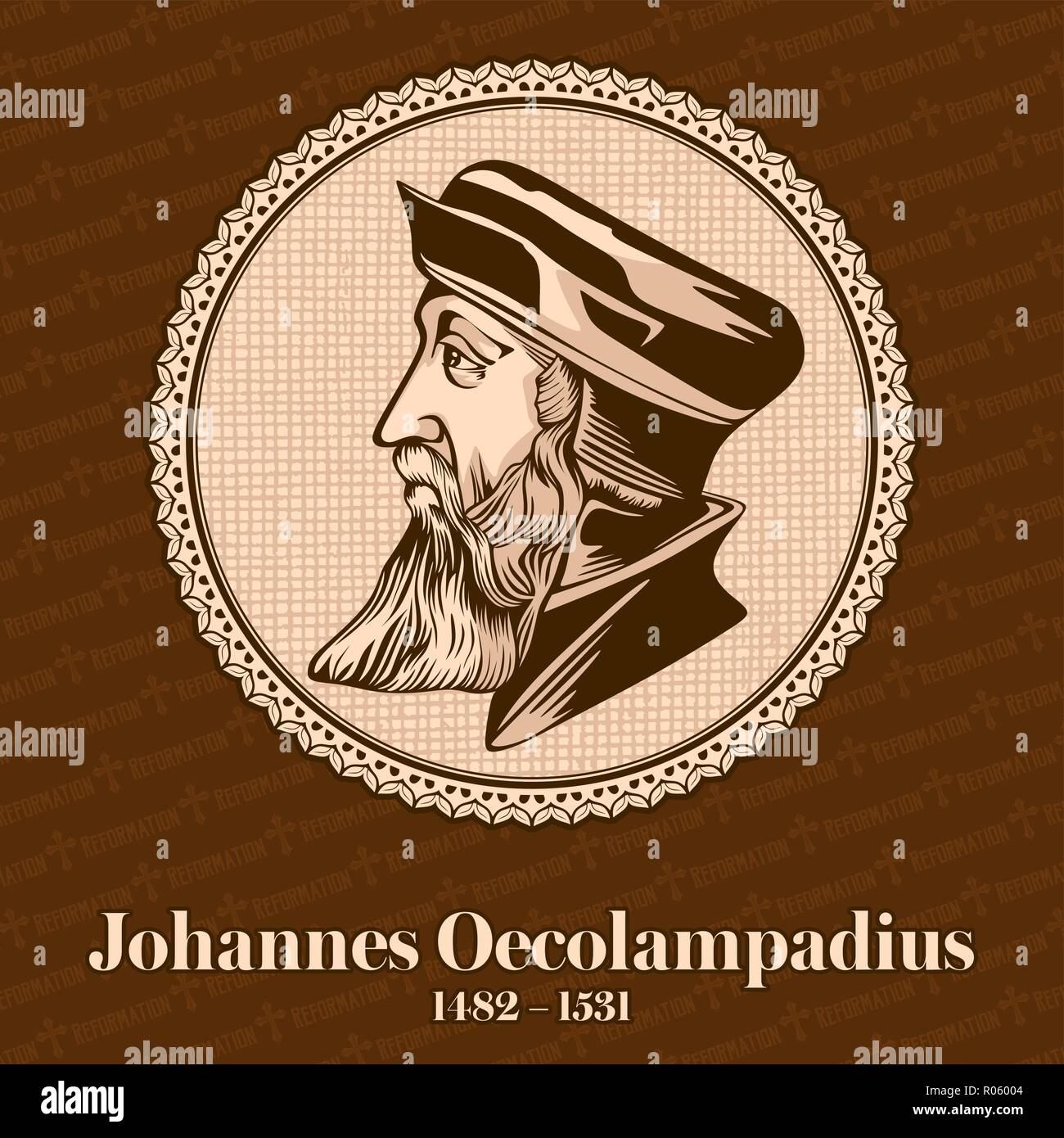 Johannes Oecolampadius (1482 – 1531) was a German Protestant reformer in the Reformed tradition from the Electoral Palatinate. - Stock Image