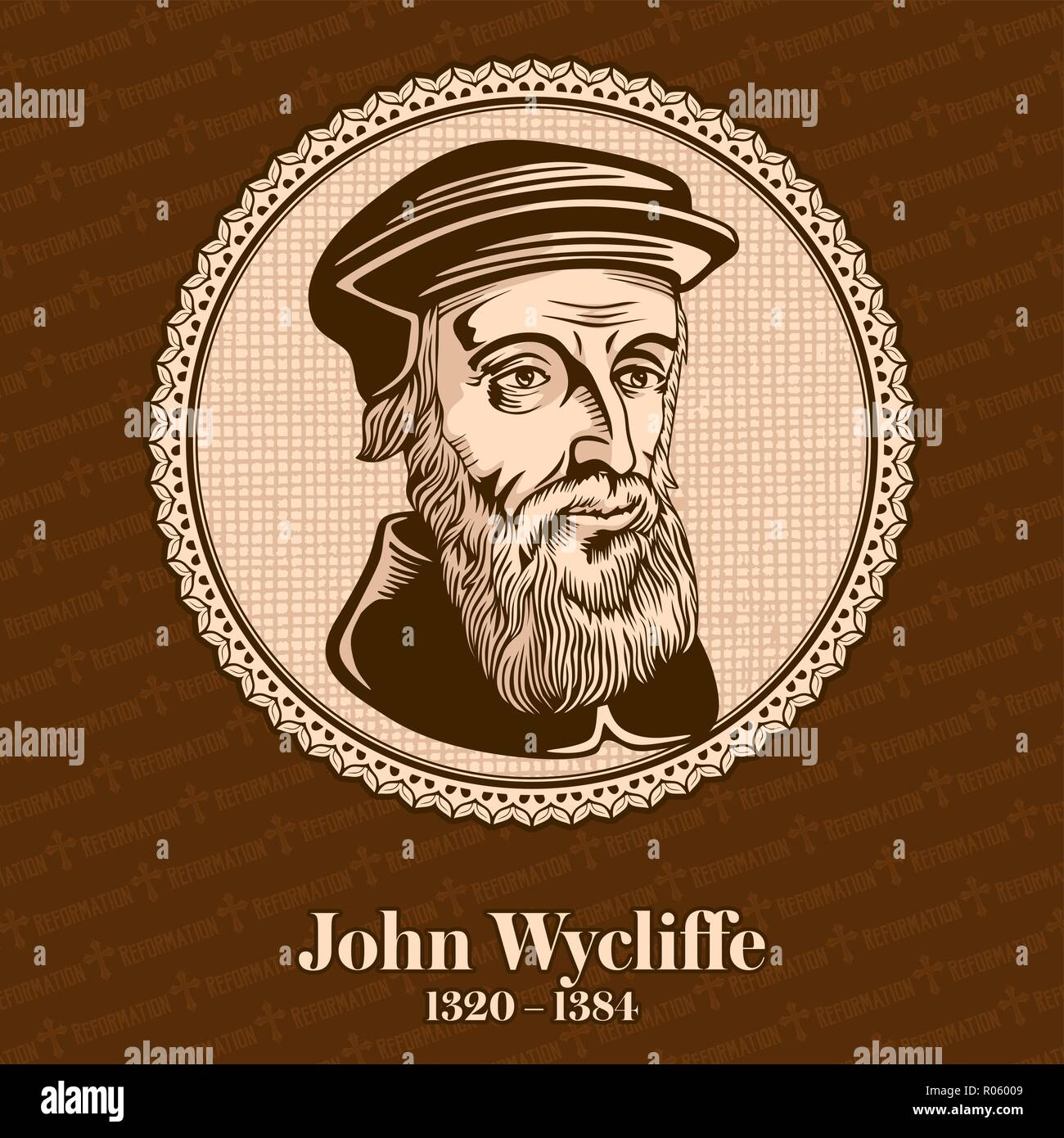 John Wycliffe (1320 – 1384) was an English scholastic philosopher, theologian, Biblical translator, reformer, English priest, and a seminary professor Stock Vector