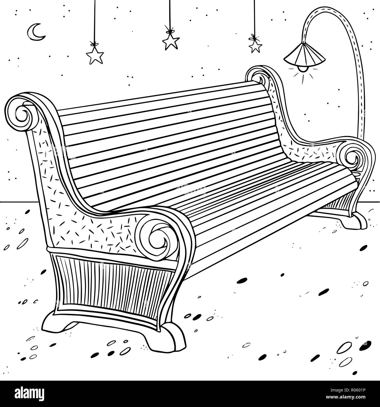 outdoor painted bench with lantern and stars - Stock Vector