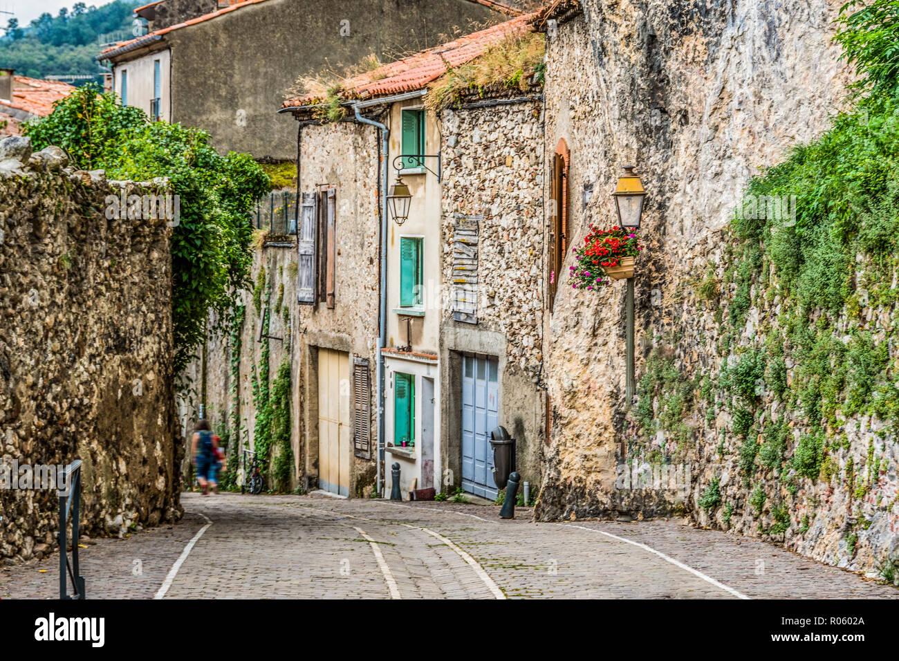 cobbled street of villa Foix village near the navarre pyrenees. ariege france Stock Photo