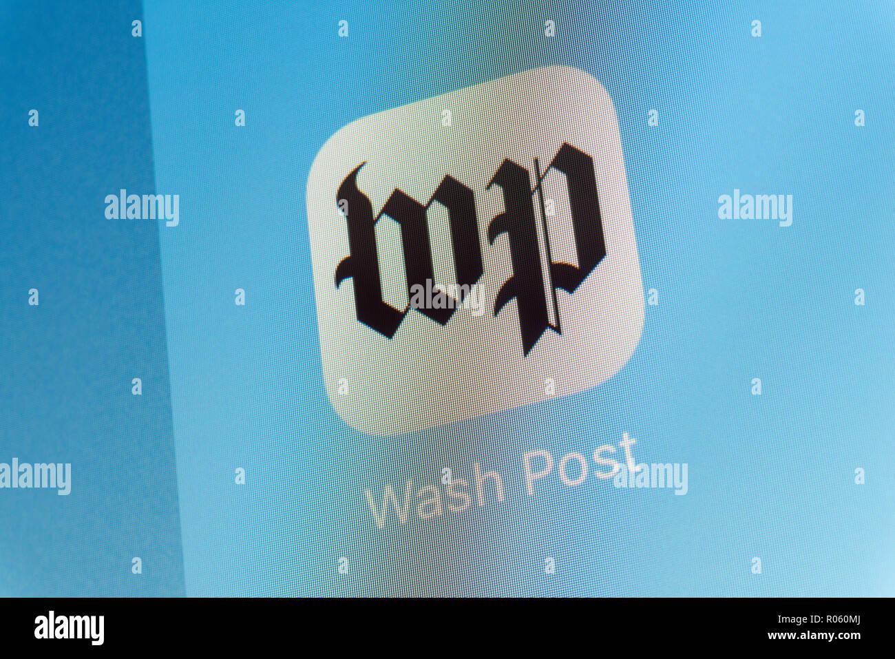 Washington Post App on cellphone screen - Stock Image