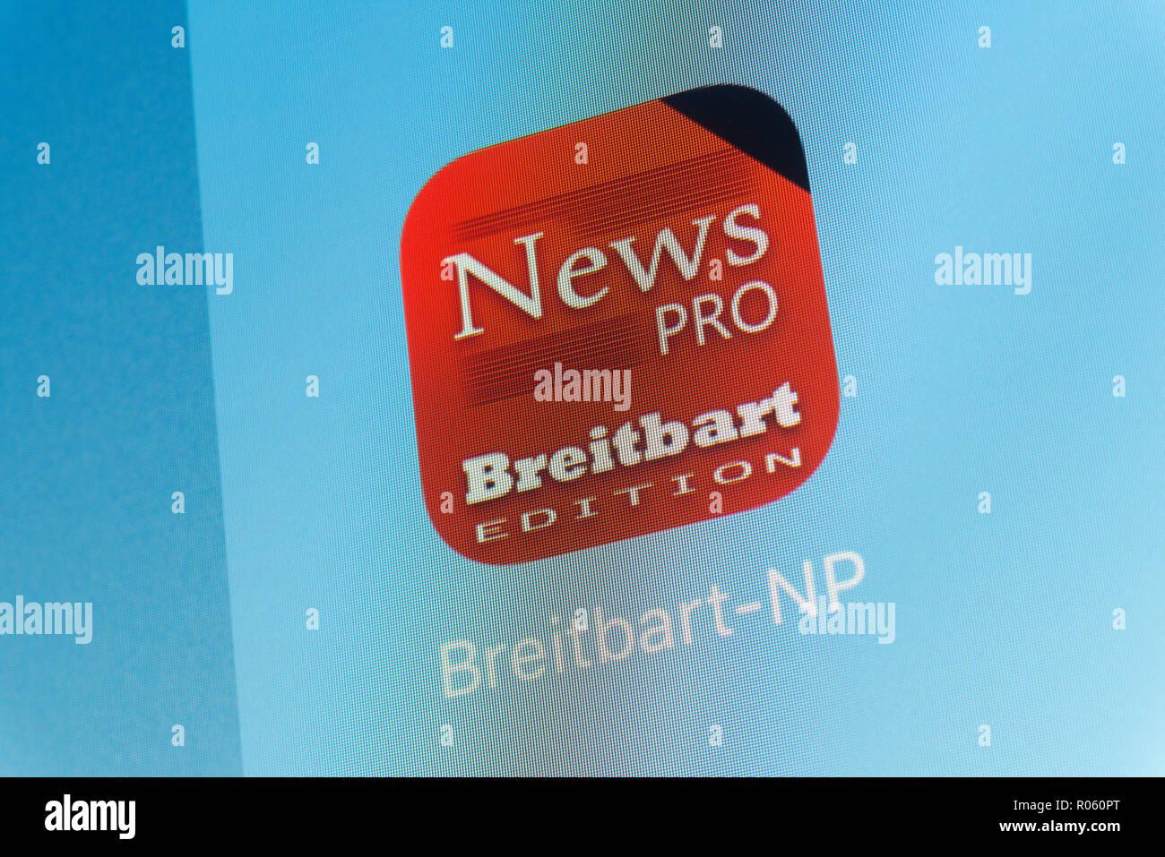 Breitbart App on cellphone screen Stock Photo: 223867136 - Alamy