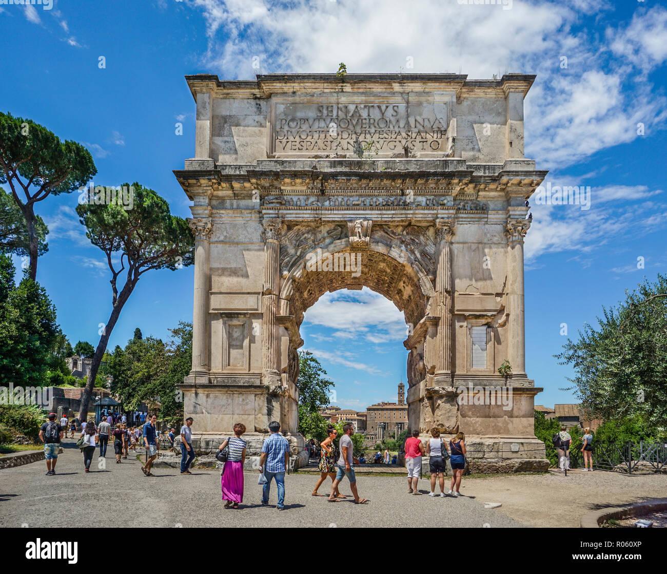 Arch of Titus, a 1st-century AD honoriric Roman arch on the Via Sacra leading into the Roman Forum, Rome, Italy - Stock Image