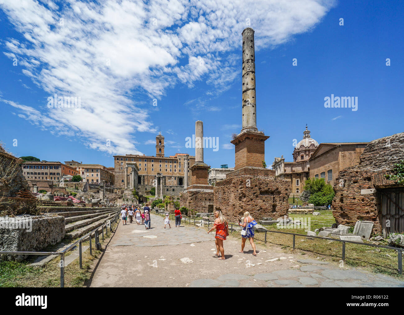 ruins of the ancient city of Rome allong Via Sacra at the Roman Forum, Rome, Italy - Stock Image