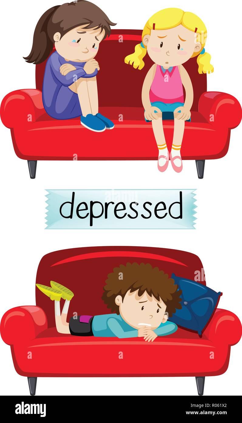 Set of depressed children illustration - Stock Vector