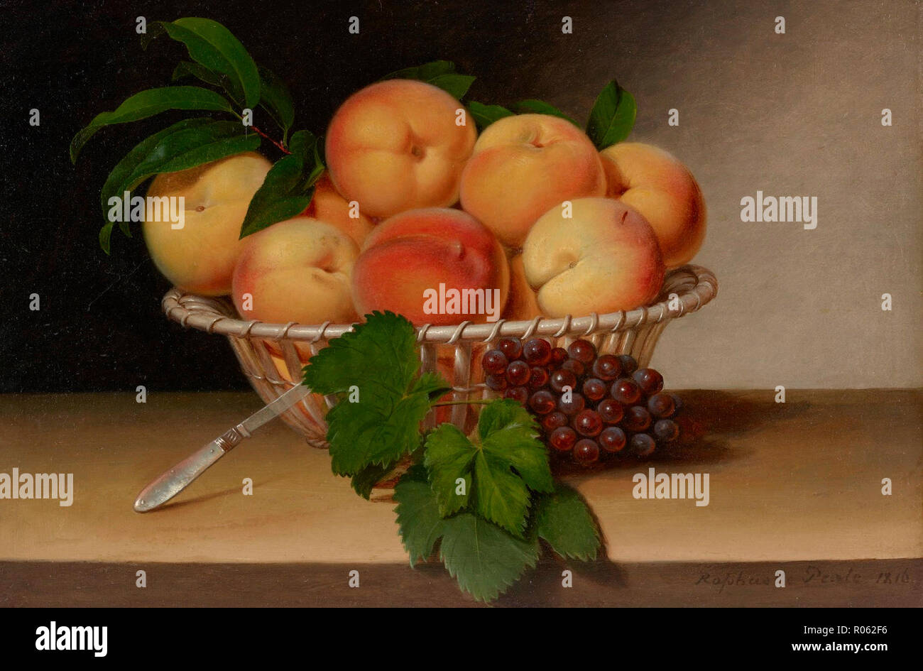 Still Life: Basket of Peaches. Raphaelle Peale, 1816 Stock Photo