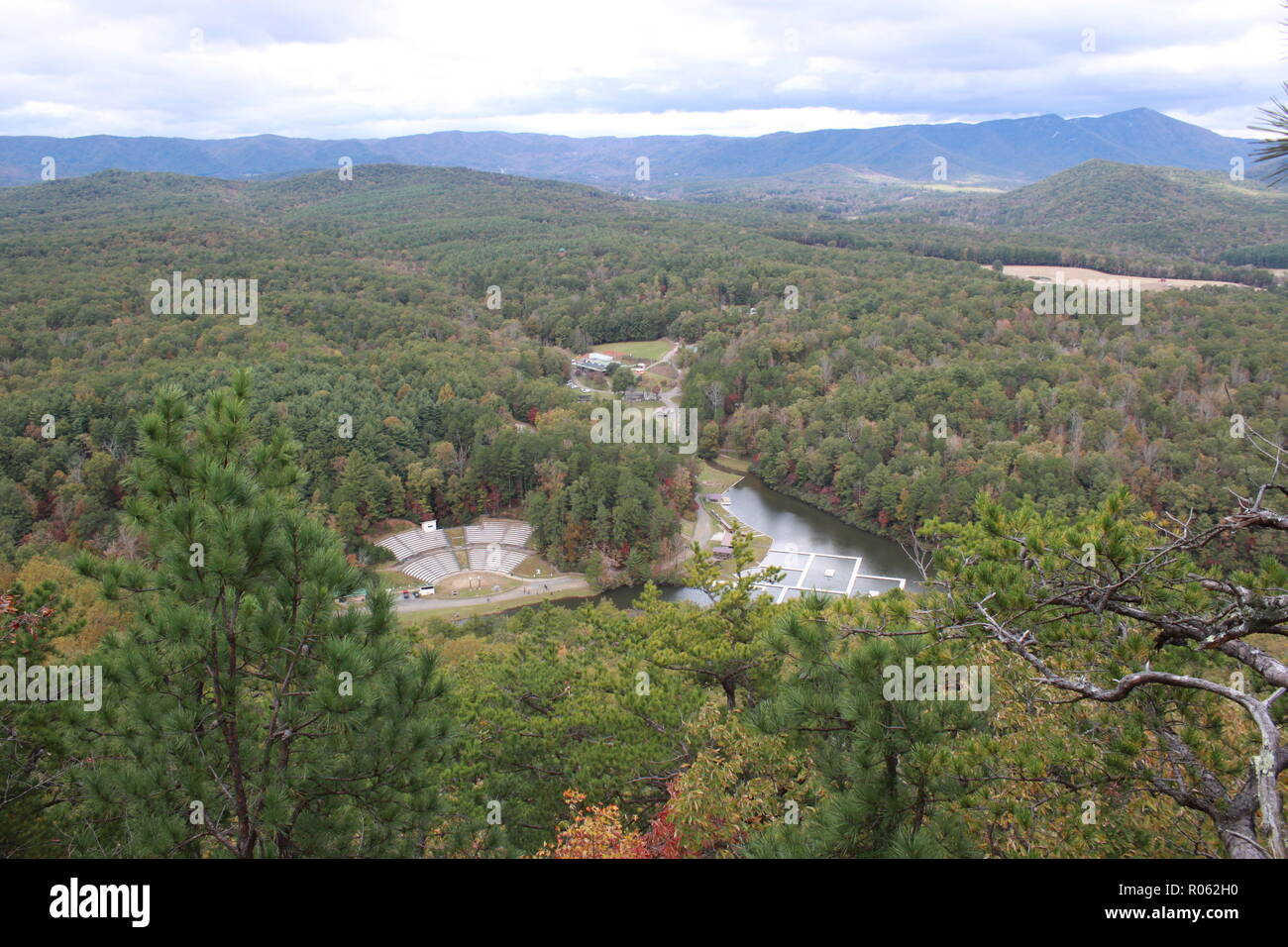 Camp Raven Knob Boy Scout Camp from the Knob during the fall. - Stock Image