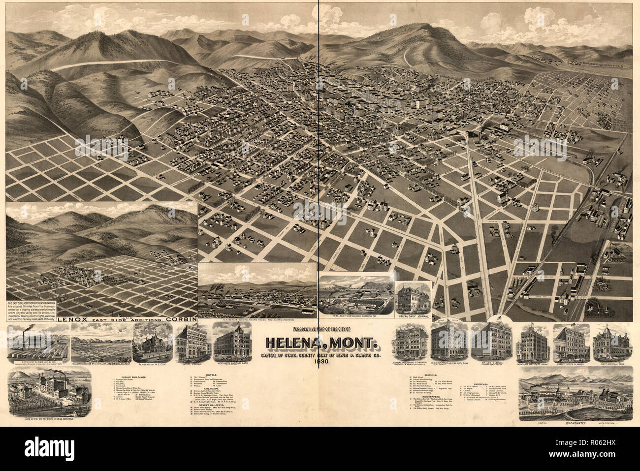 Perspective map of the city of Helena, Montana, Capital of State ...
