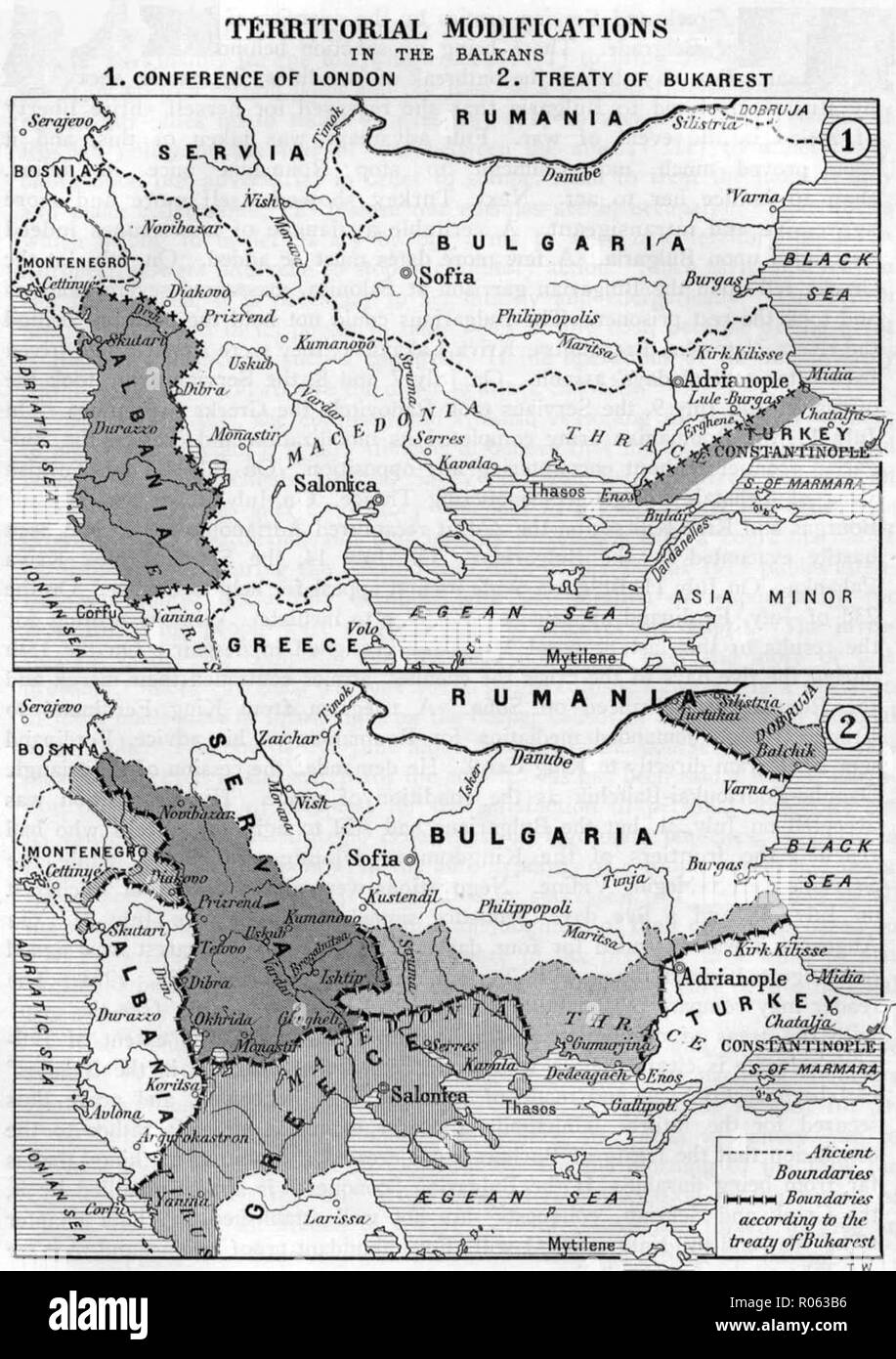 Boundaries on the Balkans after the First and the Second Balkan War (1912–1913) - Stock Image