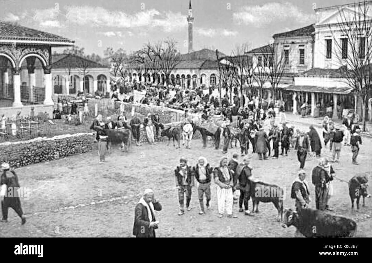 Tirana Bazaar at the turn of the 20th century. - Stock Image
