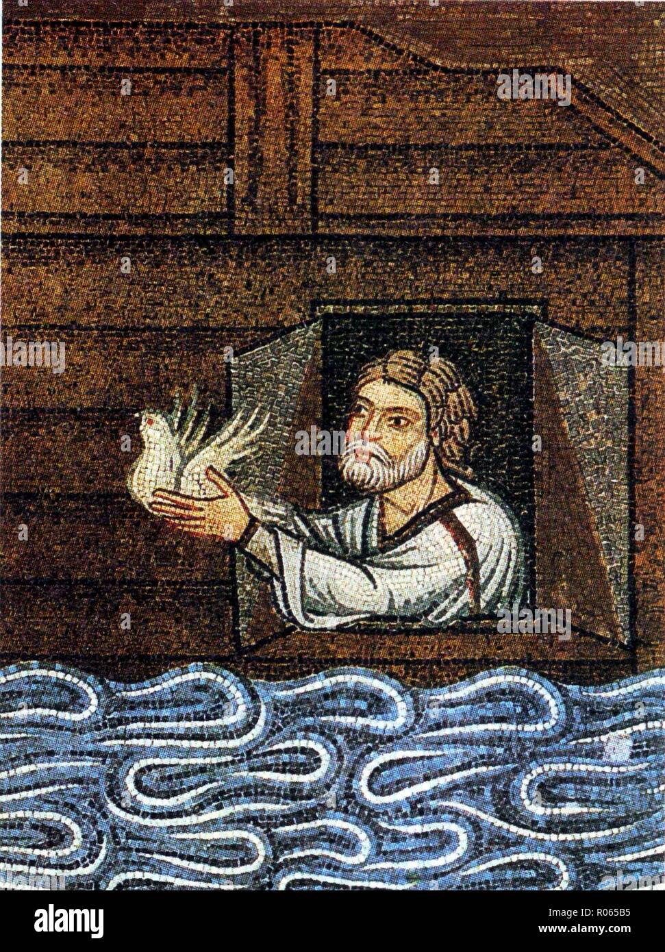 6347. Noah sending the dove,  detail from the 11th. C. mosaic at St. Mark's Basilica in Venice, Italy Stock Photo