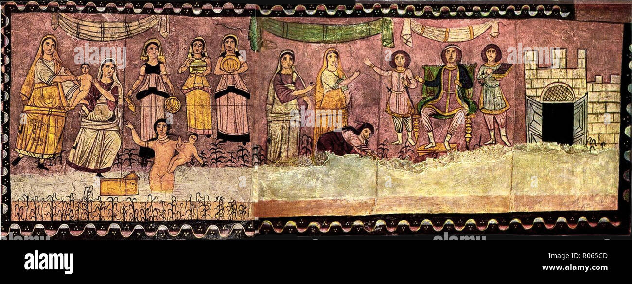 6354. Pharaoh and infant Moses, wall painting from Dura Europos synagogue dating c. 245 AD, Syria. - Stock Image