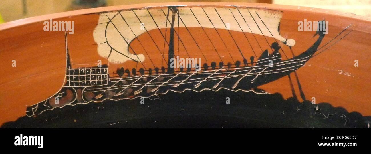 6361. Greek sailing ship c. 6th. C. BC. painting on a vase. Stock Photo