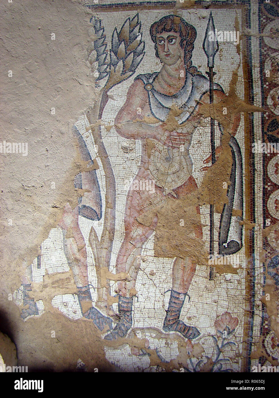 6362. Sepphoris mosaic, late Roman depicting a hunter. Stock Photo