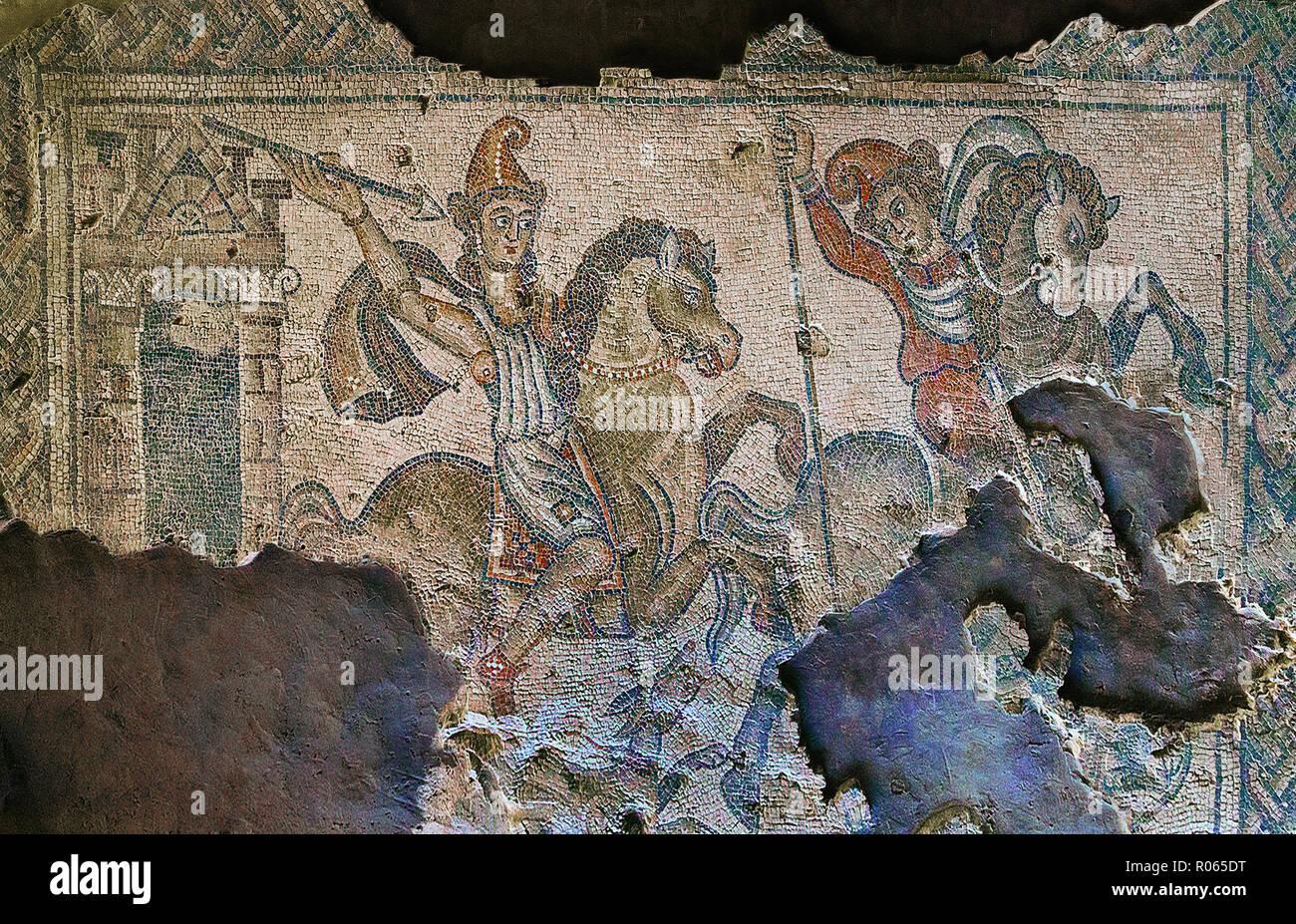 6363. Sepphoris mosaic, late Roman depicting a hunting scene. Stock Photo