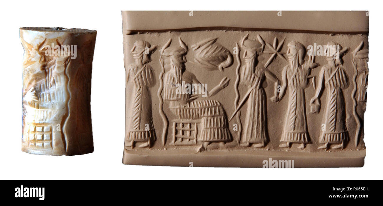 6370. Sumerian cylinder seal depicting god Ea (Enki) seated with three other deities standing, c. 2300 BC. - Stock Image