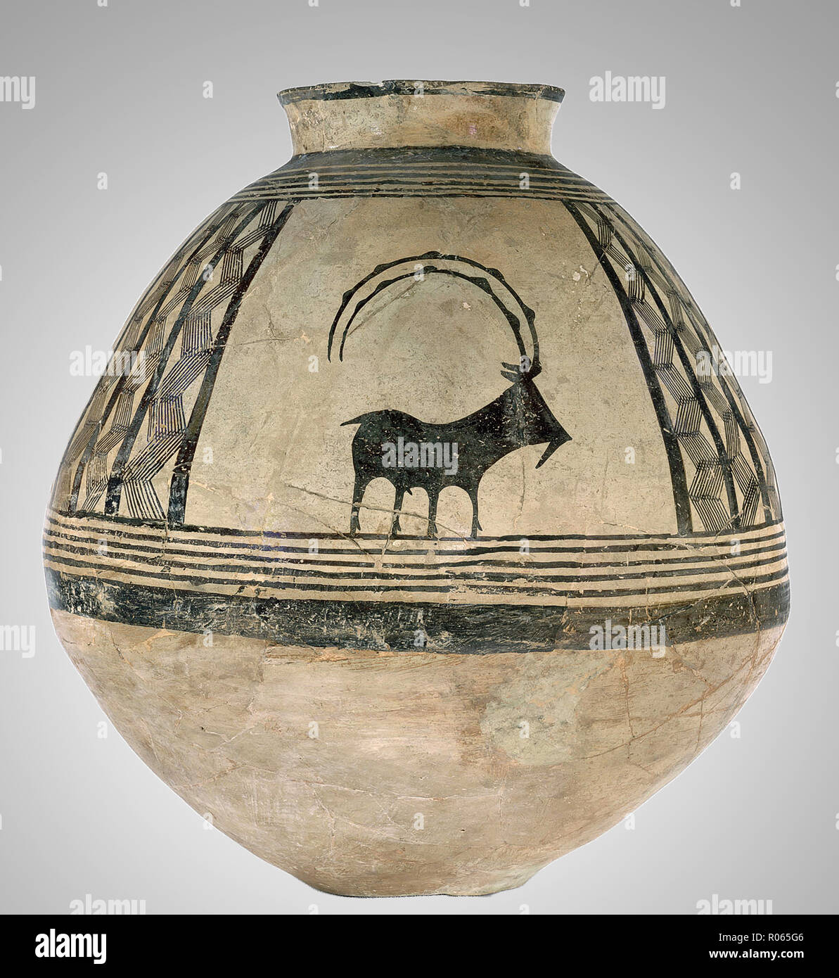 6380. Ceramic Jar decorated with a goat drawing, Iran, Chalcolithic period, 4nd. millennium BC Stock Photo