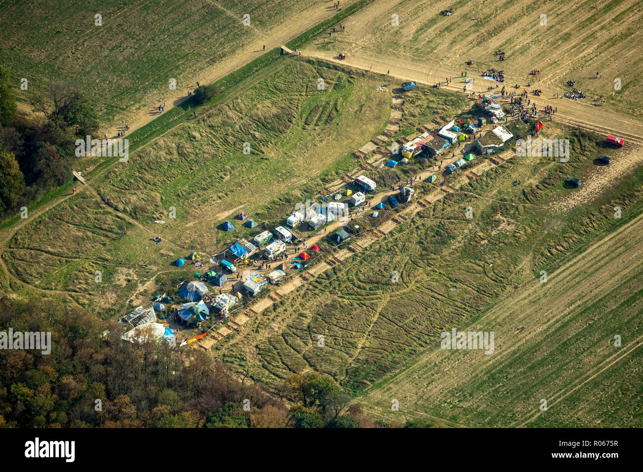 Aerial photo, tree occupants, caravan camp of the environmental activists, large demonstration against the clearing of the Hambacher forest, Hambach,  - Stock Image