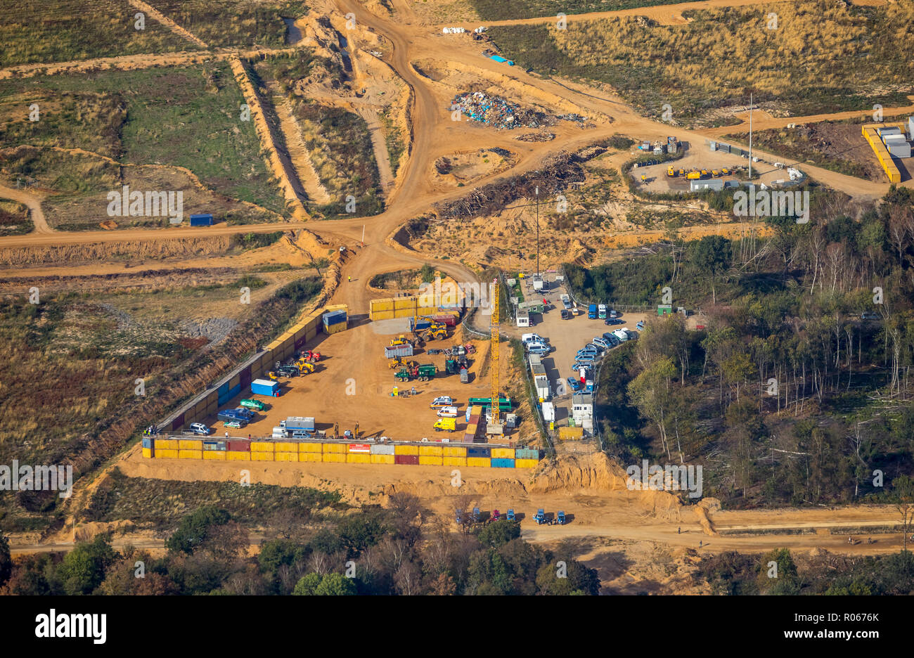 Aerial photograph, clearing companies, material warehouse of the large demonstration against the clearing of the Hambacher forest, Hambach, Hambacher  - Stock Image