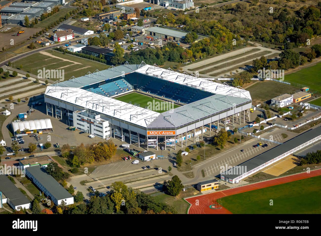 Aerial view, MDCC Arena, football stadium, 1. FC Magdeburg e. V., Brückfeld, Magdeburg, Saxony-Anhalt, Germany, DEU, Europe, aerial view, birds-eyes v - Stock Image