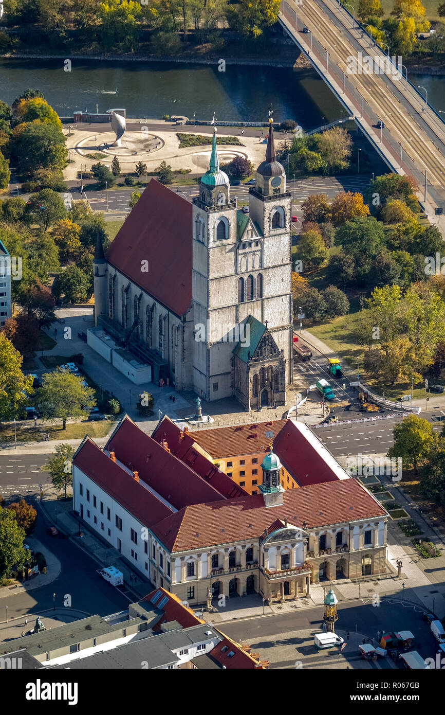 Aerial view, Magdeburg town hall, Magdeburg city council, market place, Johanniskirche, Magdeburg old town, Magdeburg, Saxony-Anhalt, Germany, DEU, Eu Stock Photo