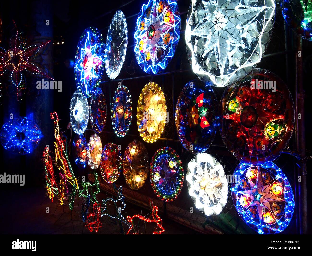 Christmas Lights In Pampanga.Photo Of Colorful Christmas Lanterns On Display At A Store