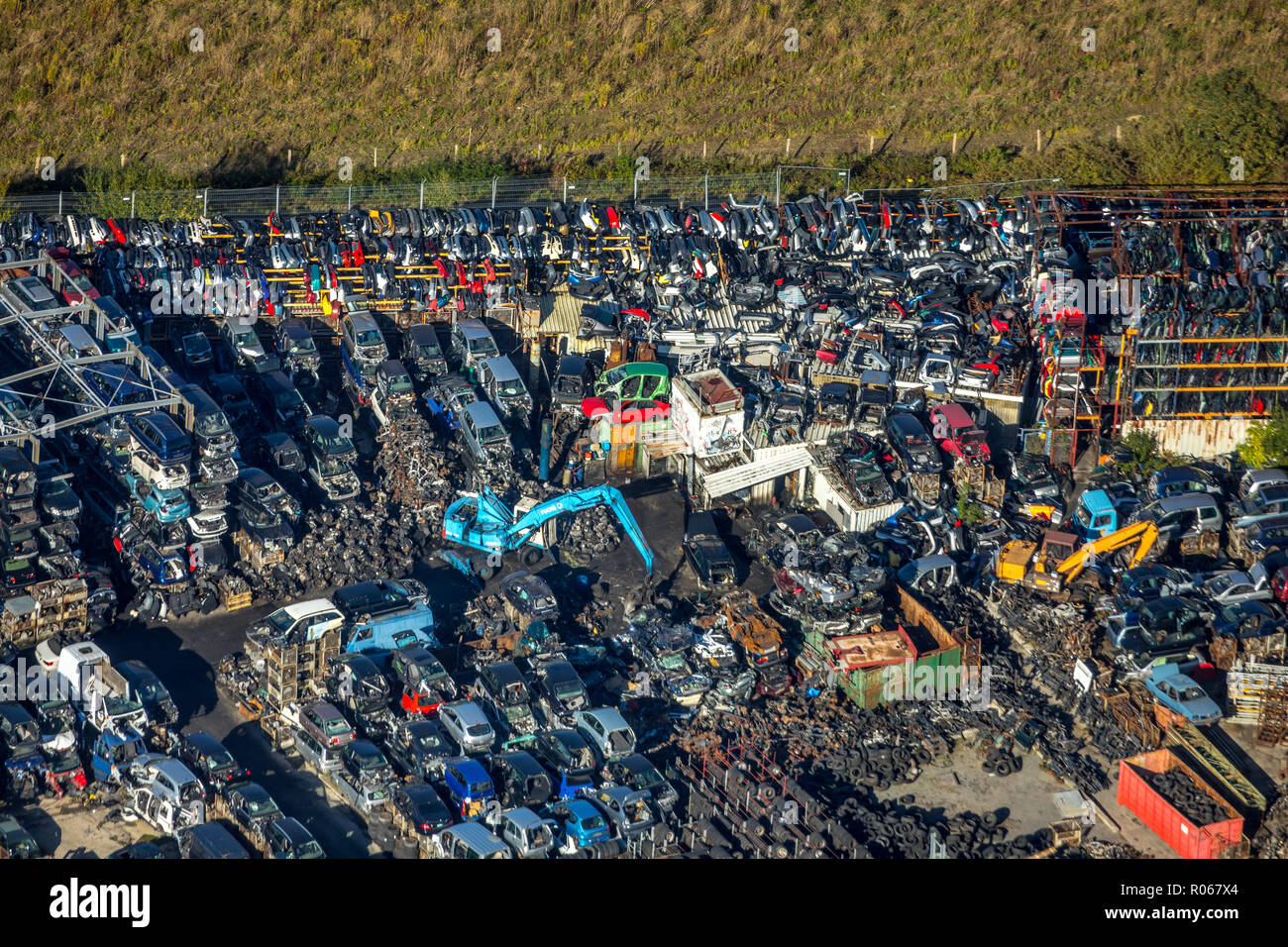 Aerial photograph, spent junkyard, strothmann auto parts GmbH & Co. KG, car recycling, fire ruin, car wrecks, Schachtkuhle, Unna, Ruhrgebiet, North Rh - Stock Image
