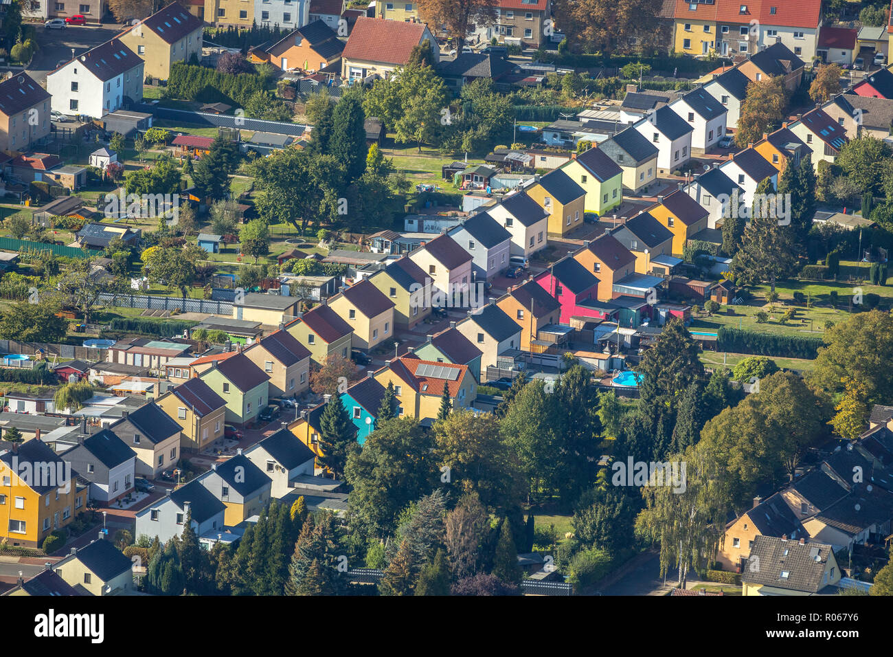 Aerial view, historic coal mine Friedrichstraße, semi-detached houses, identical houses, colorful settlement, Königsborn, Unna, Ruhr area, North Rhine - Stock Image