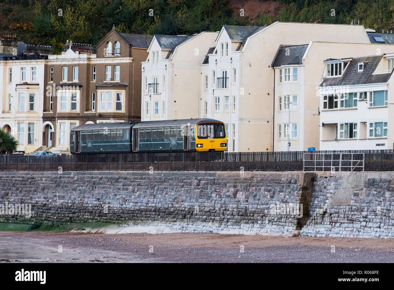 DAWLISH, DEVON, UK - 26OCT2018: GWR Class 143 Pacer Train 143603 South of Dawlish Station. - Stock Image