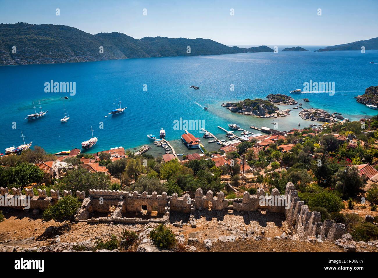 Sunken City of Kekova seen from Simena Castle, Antalya Province, Lycia, Anatolia, Mediterranean Sea, Turkey, Asia Minor, Eurasia - Stock Image