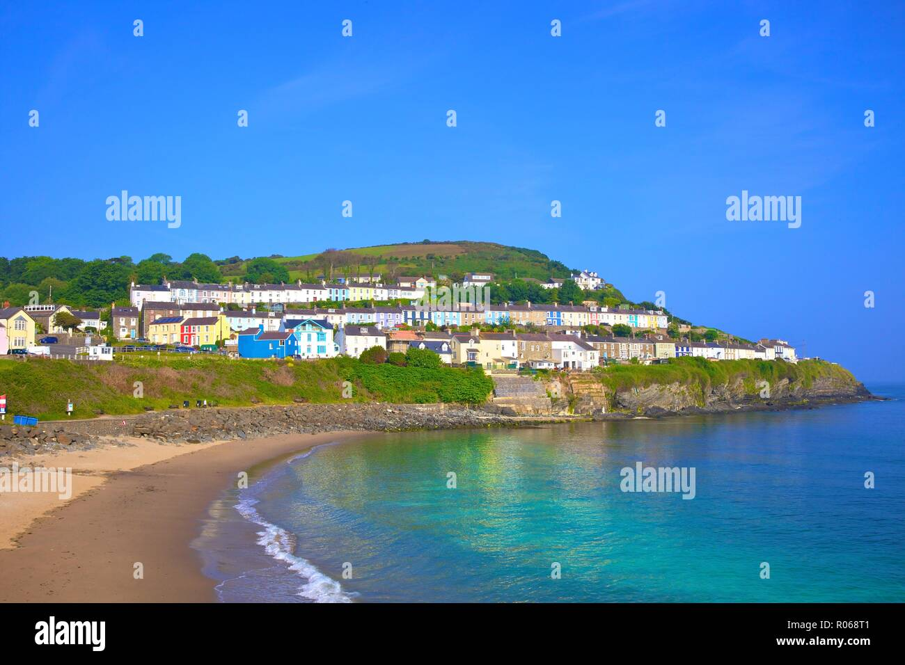 The Beach at New Quay, Cardigan Bay, Wales, United Kingdom, Europe - Stock Image