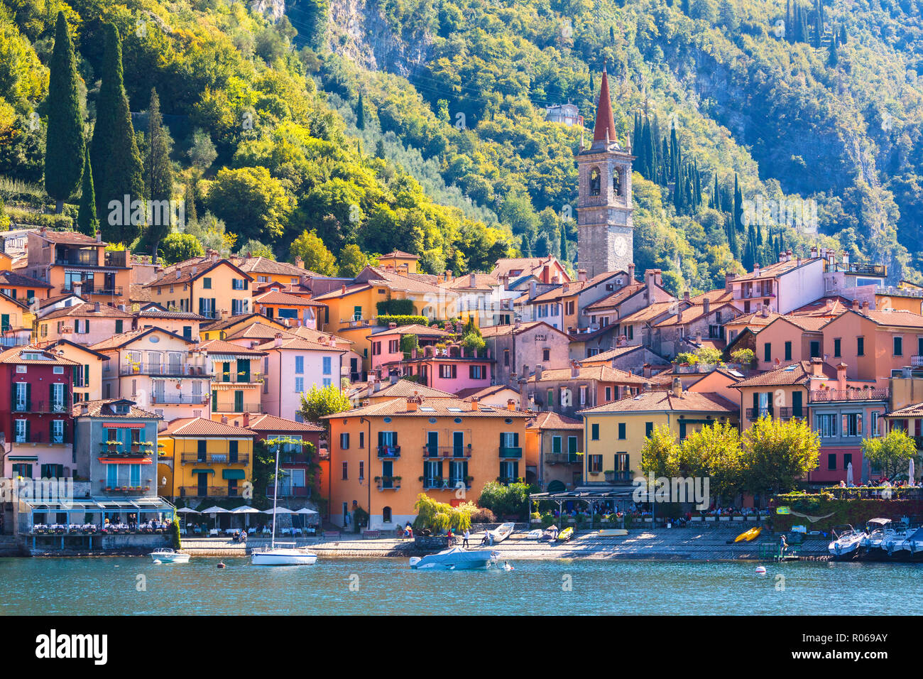 The iconic village of Varenna on the shore of Lake Como, Lecco province, Lombardy, Italian Lakes, Italy, Europe - Stock Image