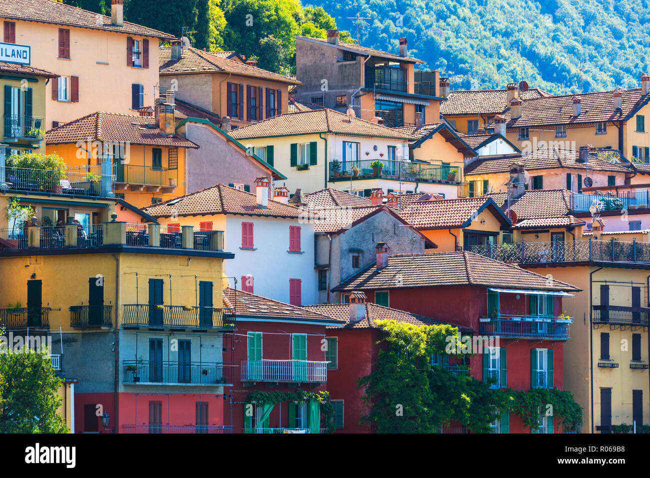 Typical architecture of colorful houses, Varenna, Lake Como, Lecco province, Lombardy, Italian Lakes, Italy, Europe - Stock Image