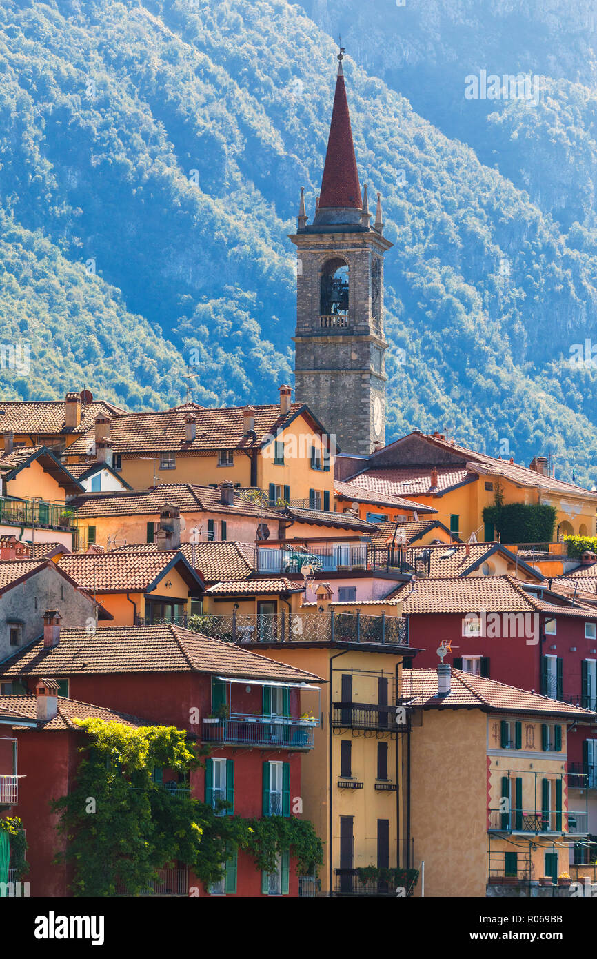 Old town and bell tower, Varenna, Lake Como, Lecco province, Lombardy, Italian Lakes, Italy, Europe - Stock Image